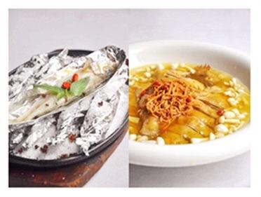 盐焗金梭鱼和虫草花浸土鸡